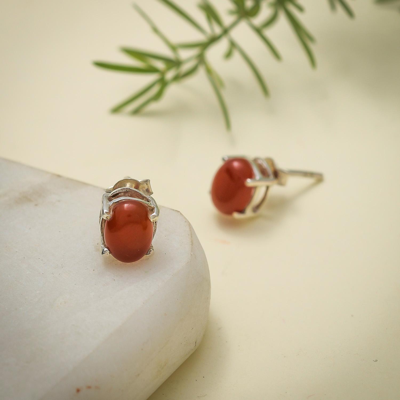 Stud Earring Lapis Lazuli Carnelian Onyx Chalcedony Gemstone 925 Silver Jewelry