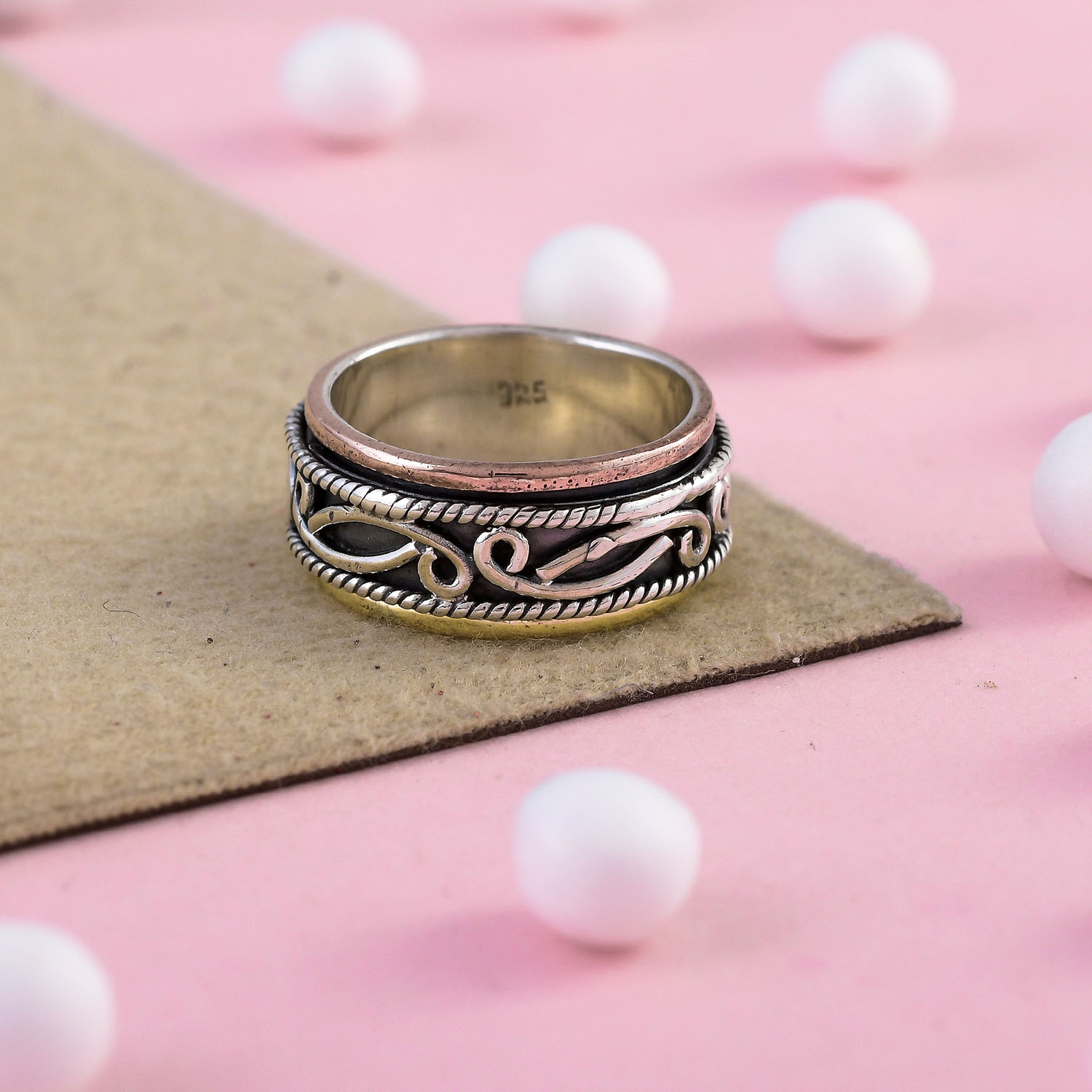 Copper Band /& 925 Sterling Silver Spinner Ring Jewelry Handmade All Size O-51